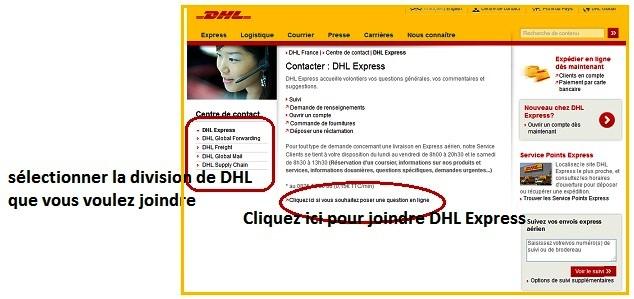 Contacter DHL sur internet