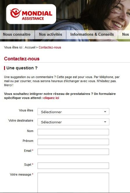 formulaire de contact internet de Mondial assistance