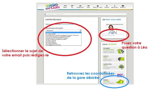 Email et Tchat de la SNCF