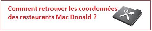 Contacter les restaurants macdonald